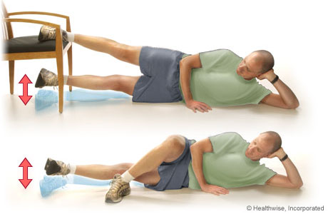 Straight-leg raises to the inside (lying on the side)
